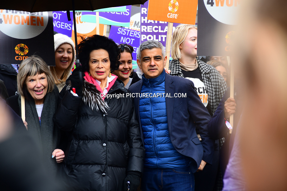 Bianca Jagger, Sadiq Khan join March4Women 2020, on 8 March 2020, London, UK
