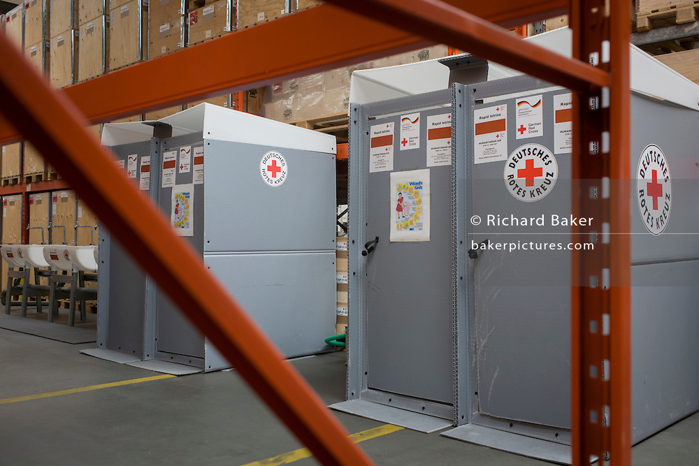 Latrines in emergency supplies warehouse, Deutsches Rotes Kreuz (DRK - German Red Cross) at their logistics centre at Berlin-Schönefeld airport.