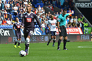 Thomas Ince has to stop his run during the Sky Bet Championship match between Bolton Wanderers and Derby County at the Macron Stadium, Bolton, England on 8 August 2015. Photo by Mark Pollitt.