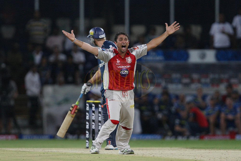 Azhar Mahmood appeals for a caught-behind during match 53 of the the Indian Premier League ( IPL) 2012  between The Deccan Chargers and the Kings XI Punjab held at the Rajiv Gandhi Cricket Stadium, Hyderabad on the 8th May 2012..Photo by Jacques Rossouw/IPL/SPORTZPICS