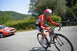 Claudia Lichtenberg (Lotto Soudal) on the climb at Giro Rosa 2016 - Stage 7. A 21.9 km individual time trial from Albisola to Varazze, Italy on July 8th 2016.