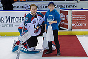KELOWNA, CANADA - FEBRUARY 07:  Third Star of the Game Brodan Salmond #31 of the Kelowna Rockets at the Kelowna Rockets game on February 07, 2018 at Prospera Place in Kelowna, British Columbia, Canada.  (Photo By Cindy Rogers/Nyasa Photography,  *** Local Caption ***