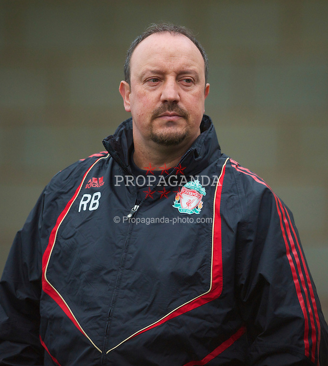LIVERPOOL, ENGLAND - Wednesday, March 31st, 2010: Liverpool's manager Rafael Benitez during training at Melwood Training Ground ahead of the UEFA Europa League Quarter-Final 1st Leg match against SL Benfica. (Pic by David Rawcliffe/Propaganda)