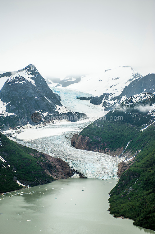 Aerial view of East Twin Glacier and Twin Glacier Lake, Juneau, Alaska.