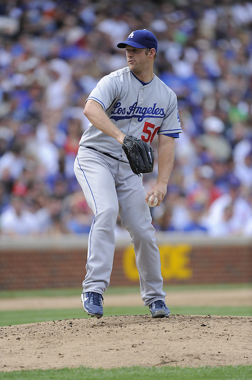 CHICAGO - MAY 30:  Eric Slults #50 of the Los Angeles Dodgers pitches against the Chicago Cubs on May 30, 2009 at Wrigley Field in Chicago, Illinois.  The Cubs defeated the Dodgers 7-0.  (Photo by Ron Vesely)
