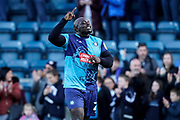 Adebayo Akinfenwa of Wycombe Wanderers celebrates with the fans during the EFL Sky Bet League 1 match between Wycombe Wanderers and Sunderland at Adams Park, High Wycombe, England on 19 October 2019.