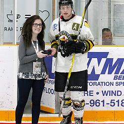 "TRENTON, ON  - MAY 3,  2017: Canadian Junior Hockey League, Central Canadian Jr. ""A"" Championship. The Dudley Hewitt Cup. Game 3 between Powassan Voodoos and the Dryden GM Ice Dogs.  Parker Bowman #17 of the Powassan Voodoos receives the player of the game award.<br /> Bowman also scored the game winning goal.<br /> (Photo by Tim Bates / OJHL Images)"