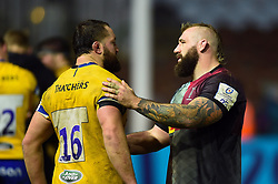 Tom Dunn of Bath Rugby and Joe Marler of Harlequins after the match - Mandatory byline: Patrick Khachfe/JMP - 07966 386802 - 23/11/2019 - RUGBY UNION - The Twickenham Stoop - London, England - Harlequins v Bath Rugby - Heineken Champions Cup