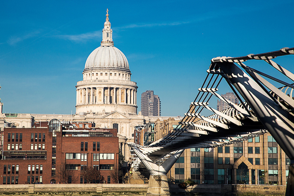 St Pauls Cathedral and The Millenium Bridge, London. <br />