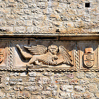 Winged Lion Relief on Big Revelin Tower in Korčula, Croatia<br />