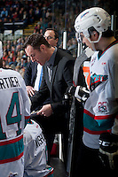 KELOWNA, CANADA - JANUARY 08: Brad Ralph, head coach of the Kelowna Rockets speaks to players on the bench during a time out against the Everett Silvertips on January 8, 2016 at Prospera Place in Kelowna, British Columbia, Canada.  (Photo by Marissa Baecker/Shoot the Breeze)  *** Local Caption *** Brad Ralph;