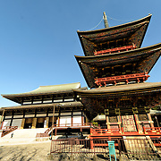 The Great Main Hall. The Three Storied Pagoda, standing 25 meters tall, was originally built in 1712. It is ornately decorated with brightly painted rafters, carved dragons, and sculptures of 16 RAKAN or Buddha's disciples how attained Nirvana. On the first floor's inner sanctum is GOCHI-NYORAI (Five Tathagas) who is believed to be endowed with the five wisdoms of Buddha. The Narita-san temple, also known as Shinsho-Ji (New Victory Temple), is Shingon Buddhist temple complex, was first established 940 in the Japanese city of Narita, east of Tokyo.