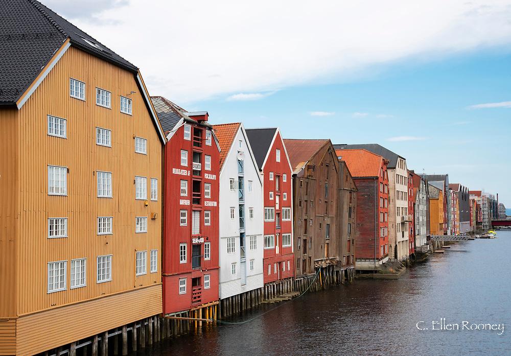 Old wooden warehouses on the Nidelva River in Tronheim, Trondelag, Norway