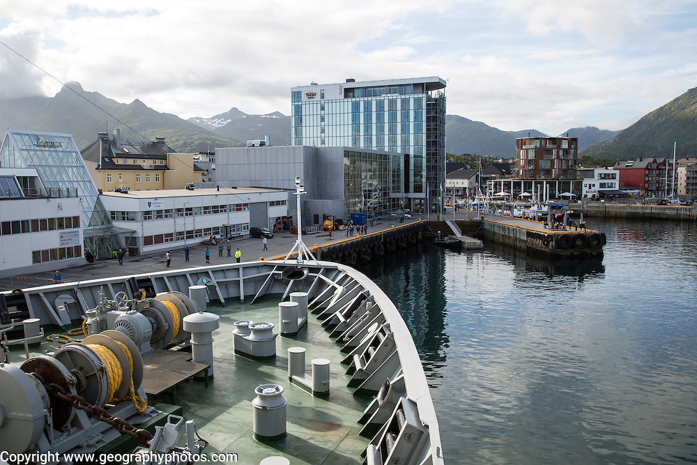 Hurtigruten ferry ship arriving at Svolvaer, Lofoten Islands, Nordland, Norway