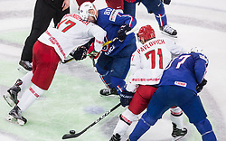 Yegor Sharangovich of Belarus vs Teddy da Costa of France during the 2017 IIHF Men's World Championship group B Ice hockey match between National Teams of France and Belarus, on May 12, 2017 in AccorHotels Arena in Paris, France. Photo by Vid Ponikvar / Sportida