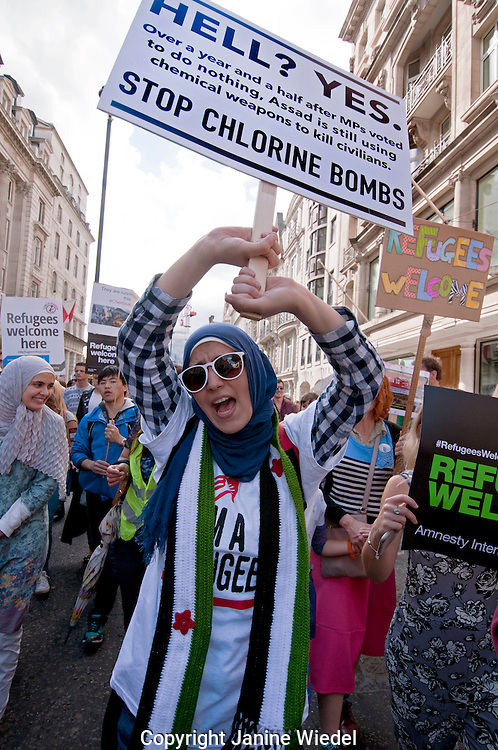 Thousands march through streets of London joining  in solidarity with the Refugees crisis.