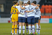 Tottenham Hotspur Women team huddle before the second half during the FA Women's Super League match between Tottenham Hotspur Women and Manchester City Women at the Hive, Barnet, United Kingdom on 5 January 2020.