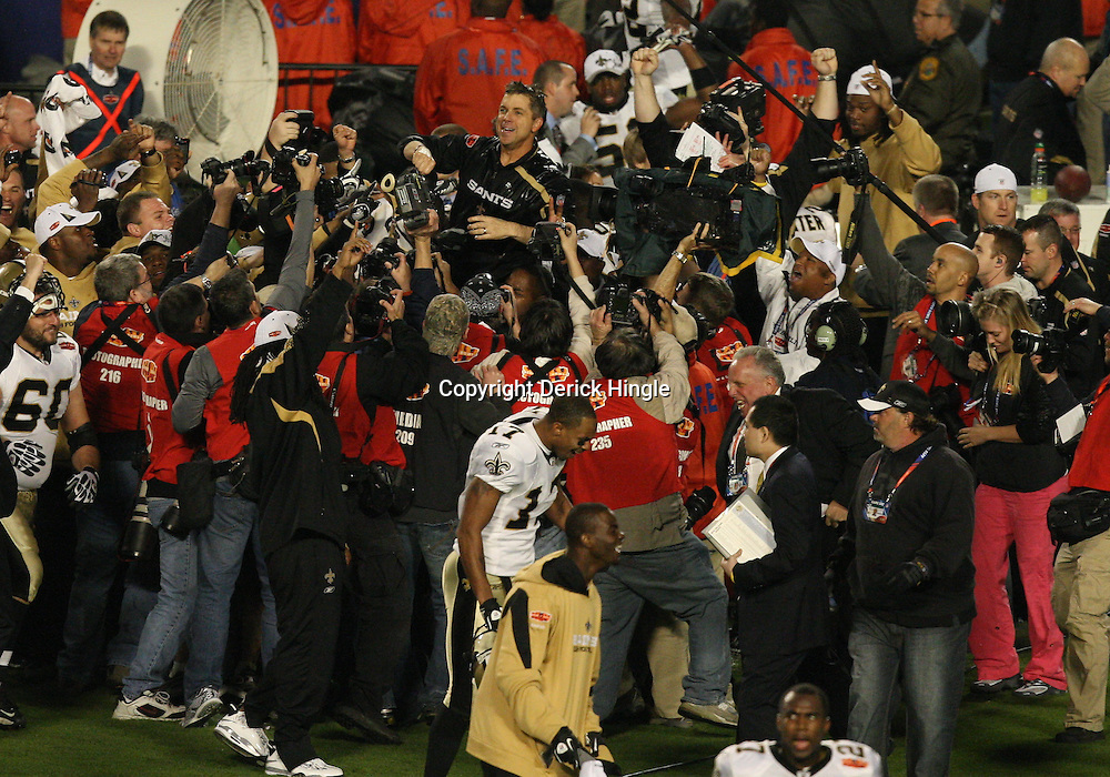 2010 February 07: New Orleans Saints head coach Sean Payton is carried on the shoulders of player following a 31-17 win by the New Orleans Saints over the Indianapolis Colts in Super Bowl XLIV at Sun Life Stadium in Miami Gardens, Florida.