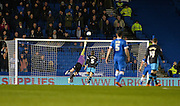 Sheffield Wednesday goalkeeper Keiren Westwood (1) makes a save in the first half during the Sky Bet Championship match between Brighton and Hove Albion and Sheffield Wednesday at the American Express Community Stadium, Brighton and Hove, England on 8 March 2016. Photo by Adam Rivers.