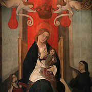 Madonna of the Rose, detail, 15th Century painting by unknown artist, in the Museu Nacional de Machado de Castro, Coimbra, Portugal. The museum was opened in 1913 and renovated 2004-2012. The city of Coimbra dates back to Roman times and was the capital of Portugal from 1131 to 1255. Its historic buildings are listed as a UNESCO World Heritage Site. Picture by Manuel Cohen