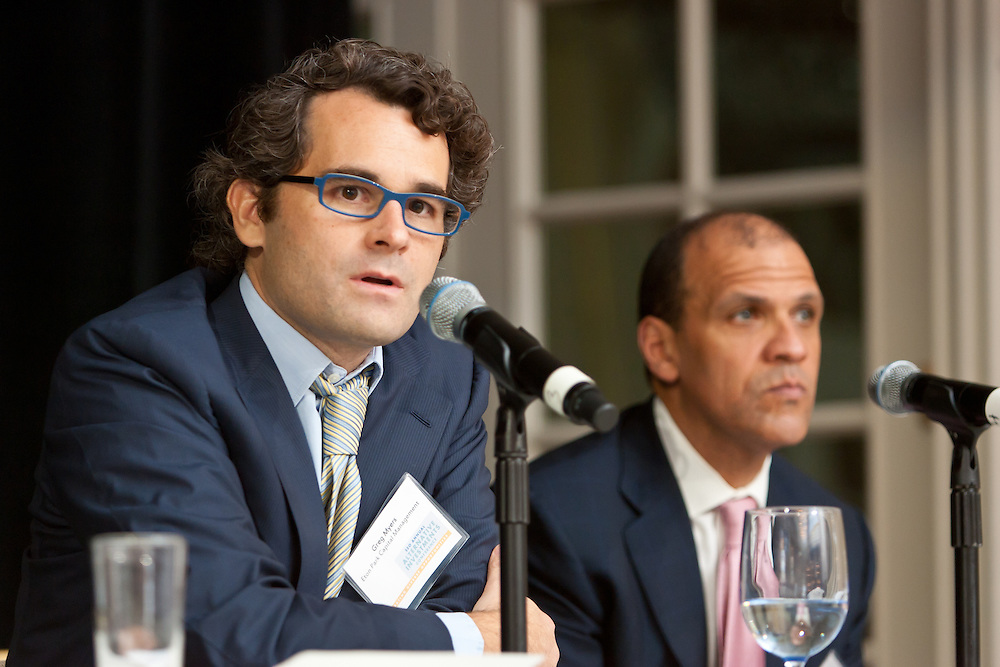 Greg Myers, Director of Investor Relations, Eton Park Capital Management during panel discussion at the SEO 2nd Annual Alternative Investment Conference held May 17, 2011 at the Essex House Hotel in New York. Organized by Sponsors for Educational Opportunity (SEO), the conference is part of SEO's Alternative Investments Program, which includes the Alternative Investment Fellowship Program (AIFP), an initiative launched in 2009.  The AIFP is an educational program for young professionals from backgrounds traditionally underrepresented in the alternative investments industry.  The AIFP combines workshops, training and mentoring to strengthen Fellows as candidates for positions in private equity and other alternative investments.  The program also improves Fellows' skills as analysts by exploring strategic decisions involved in transactions from the client's point of view.