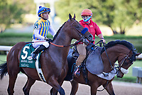 HOT SPRINGS, AR - MAY 02:  Jockey Martin Garcia rides #5 Nadal to the starting gate before the 84th running of The Arkansas Derby Grade 2 at Oaklawn Racing Casino Resort on Derby Day during the Covid-19 Pandemic on May 2, 2020 in Hot Springs, Arkansas. (Photo by Wesley Hitt/Getty Images)