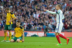 LONDON, ENGLAND - Sunday, March 26, 2017: England's Jamie Vardy celebrates scoring the second goal against Lithuania during the 2018 FIFA World Cup Qualifying Group F match at Wembley Stadium. (Pic by Xiaoxuan Lin/Propaganda)