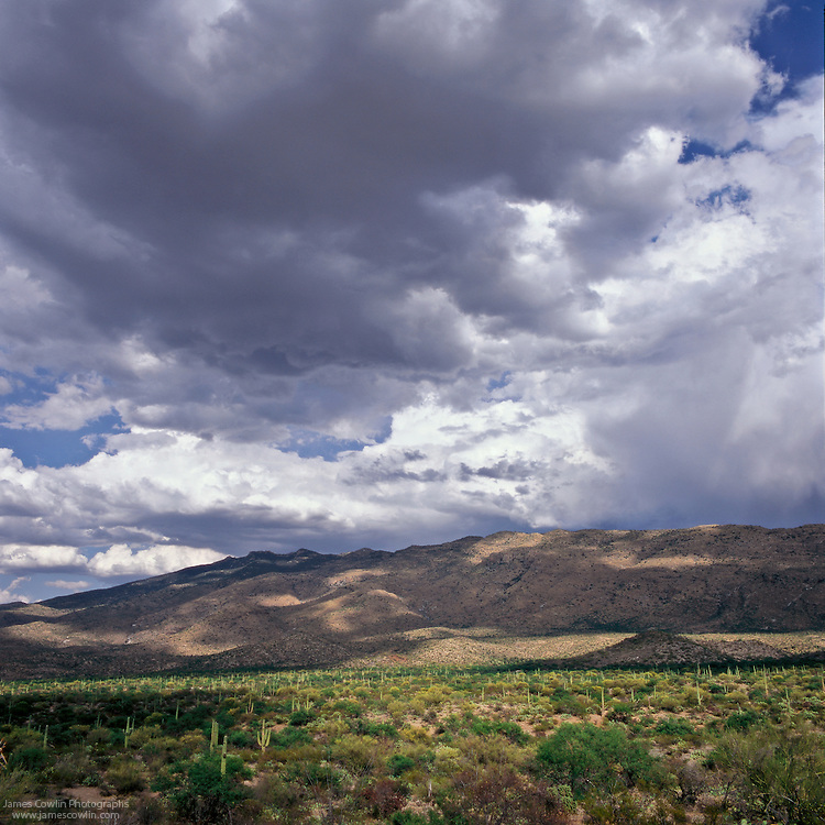 Clouds over the Rincon Mountains in Saguaro National Park, Arizona