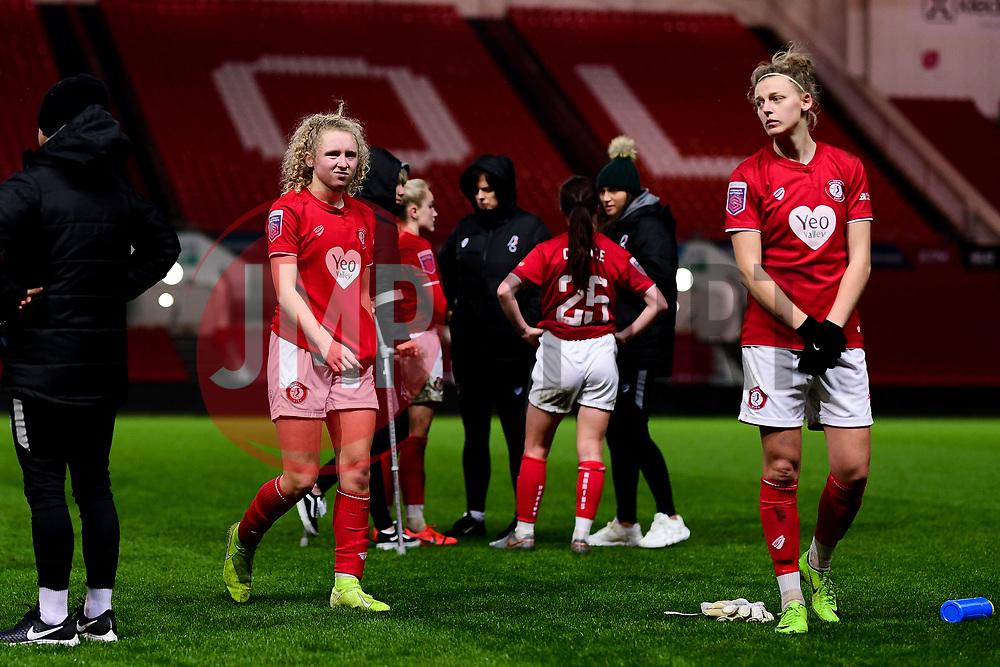 Katie Robinson of Bristol City and Yana Daniels of Bristol City - Mandatory by-line: Ryan Hiscott/JMP - 17/02/2020 - FOOTBALL - Ashton Gate Stadium - Bristol, England - Bristol City Women v Everton Women - Women's FA Cup fifth round