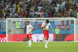June 24, 2018 - Kazan, Russia - Dejected Poland's Robert Lewandowski reacts after team's 0:3 loss at the World Cup Group H soccer match between Poland and Colombia at the Kazan Arena, in Kazan, Russia, June 24, 2018. (Credit Image: © Foto Olimpik/NurPhoto via ZUMA Press)