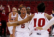 Wisconsin's Morgan Paige (5) celebrates after Wisconsin upset Penn State 63-61. (AP Photo/Andy Manis)