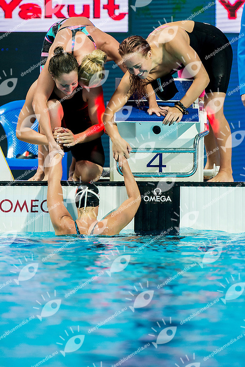 Team Italy ITA<br /> MIZZAU Alice, MUSSO Erica, MASINI LUCCETTI Chiara, PELLEGRINI Federica<br /> 4X200 Freestyle Women Final Silver Medal<br /> Swimming - Kazan Arena<br /> Day14 06/06/2015<br /> XVI FINA World Championships Aquatics Swimming<br /> Kazan Tatarstan RUS July 24 - Aug. 9 2015 <br /> Photo G.Scala/Deepbluemedia/Insidefoto