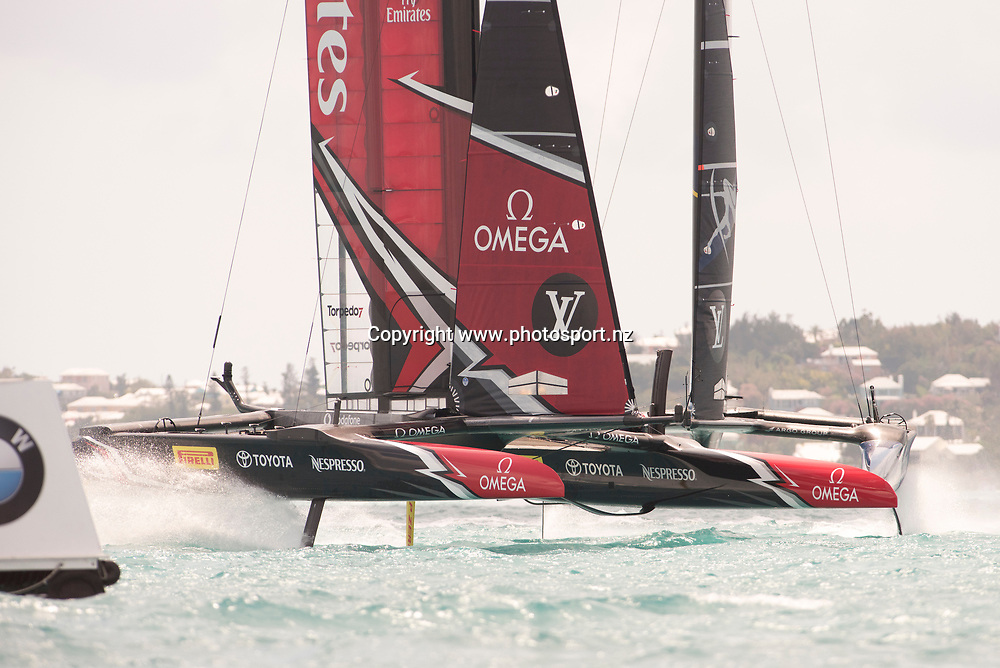 Emirates Team New Zealand crosses ahead of Artemis Racing (SWE) in race 14. The win goes to ETNZ after Artemis  incur a penalty at the final mark. Day three of the America's Cup Qualifiers, Bermuda 29/5/2017 . Copyright Image: Chris Cameron / www.photosport.nz