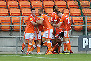Blackpool Defender, Curtis Tilt (16) scores to make it 3-2 goal celebration during the EFL Sky Bet League 1 match between Blackpool and Bradford City at Bloomfield Road, Blackpool, England on 8 September 2018.