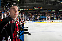 KELOWNA, BC - JANUARY 26:  Bowen Byram #44 of the Vancouver Giants stands on the bench against the Kelowna Rockets at Prospera Place on January 26, 2019 in Kelowna, Canada. (Photo by Marissa Baecker/Getty Images)
