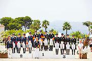 Podium Junioren 1. Germany, 2 The Netherlands, 3. Danmark<br /> European Championships Dressage 2016<br /> © DigiShots