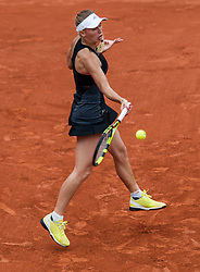 June 1, 2018 - Paris, Ile-de-France, France - Caroline Wozniacki of Denmark returns the ball to Pauline Parmentier of France during the third round at Roland Garros Grand Slam Tournament - Day 6 on June 01, 2018 in Paris, France. (Credit Image: © Robert Szaniszlo/NurPhoto via ZUMA Press)
