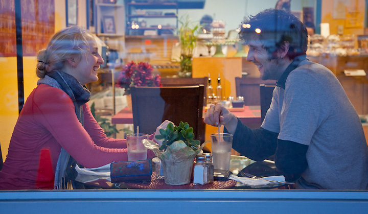 Lillian Connor and Morgan in Antonios Greek Bakery and Cafe, Anchorage