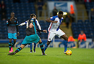 Hope Akpan of Blackburn Rovers (right) steps past Atdhe Nuhiu of Sheffield Wednesday during the Sky Bet Championship match at Ewood Park, Blackburn<br /> Picture by Russell Hart/Focus Images Ltd 07791 688 420<br /> 28/11/2015