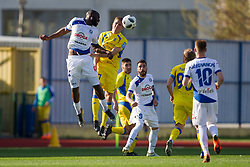 Joaquim Manuel Welo Lupeta of NK Celje and Marko Alvir of NK Domzale during football match between NK Domzale and NK Celje in Round #20 of Prva liga Telekom Slovenije 2017/18, on April 18, 2018 in Sports Park Domzale, Domzale, Slovenia. Photo by Urban Urbanc / Sportida