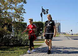 ASTANA, KAZAKHSTAN - Saturday, September 16, 2017: Wales' Jessica Fishlock and manager Jayne Ludlow during a pre-match walk ahead of the FIFA Women's World Cup 2019 Qualifying Round Group 1 match against Kazakhstan. (Pic by David Rawcliffe/Propaganda)