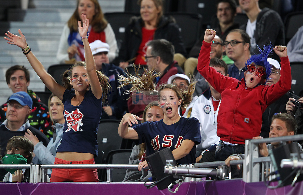 Fans cheer during the Australia and Austria vollyball match during day 3 of the London Olympic Games London, 30 Jul 2012..(Jed Jacobsohn/for The New York Times)....