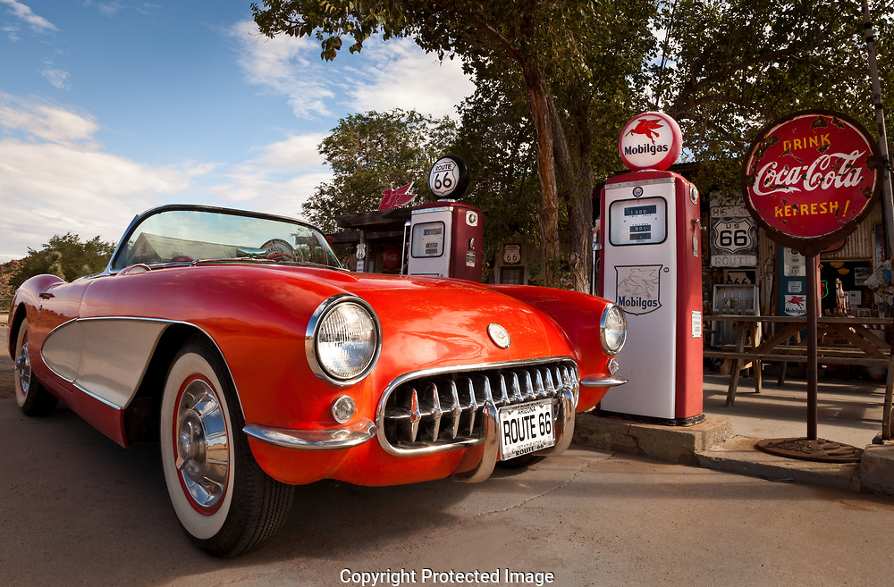 Route 66,  Hackberry General Store, Hackberry, Arizona, Corvette, red, Chevrolet, vintage car, sports car, gas station, vintage, 1957, vintage gas station