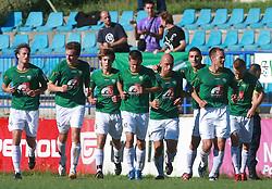 Players of Rudar (Miha Golob (16) of Rudar,Nikola Tolimir (22) of Rudar,Damjan Trifkovic (8) of Rudar,Denis Grbic (10) of Rudar,Ales Jesenicnik (3) of Rudar,Boris Mijatovic (23) of Rudar, Tuomas Marko Kolsi  (4) of Rudar, Nik Omladic (21) of Rudar) celebrate first goal  at 6th Round of PrvaLiga Telekom Slovenije between NK Primorje Ajdovscina vs NK Rudar Velenje, on August 24, 2008, in Town stadium in Ajdovscina. Primorje won the match 3:1. (Photo by Vid Ponikvar / Sportal Images)