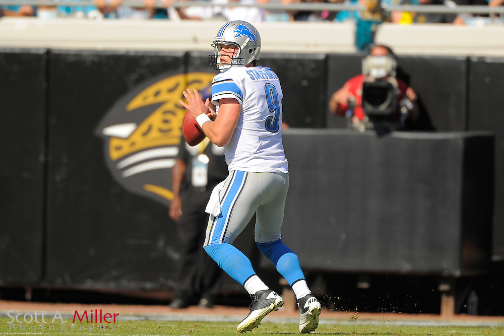 Detroit Lions quarterback Matthew Stafford (9) looks to throw during the Lions 31-14 win over the Jacksonville Jaguars at EverBank Field on November 4, 2012 in Jacksonville, Florida. ..©2012 Scott A. Miller..