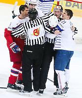 Baston Jaromig Jagr / Antoine Roussel - 07.05.2015 - Republique Tcheque / France - Championnat du Monde de Hockey sur Glace <br />Photo : Xavier Laine / Icon Sport