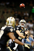 NEW ORLEANS, LA - NOVEMBER 11:  Drew Brees #9 of the New Orleans Saints warms up betore a game against the Atlanta Falcons at Mercedes-Benz Superdome on November 11, 2012 in New Orleans, Louisiana.  The Saints defeated the Falcons 31-27.  (Photo by Wesley Hitt/Getty Images) *** Local Caption *** Drew Brees