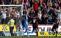 Photo: Alan Crowhurst.<br />Wycombe Wanderers v Lincoln City. Coca Cola League 2. 23/09/2006. Mark Stallard of Lincoln (C) celebrates his first goal infront of the Lincoln fans.