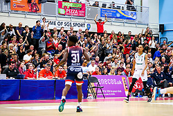 Bristol Flyers fans celebrate after Marvin Dinnall of Bristol Flyers gets his first BBL points - Rogan/JMP - 11/10/2019 - BASKETBALL - SGS Wise Arena - Bristol, England - Bristol Flyers v Plymouth Raiders - BBL Cup.