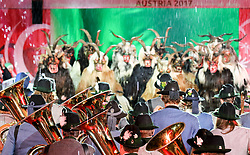 18.03.2017, Planai-Stadion, Schladming, AUT, Special Olympics 2017, Wintergames, Eröffnungsfeier, im Bild eine Krampus-Gruppe und eine Blasmusik-Gruppe // Austrian and Styrian tradition during the opening ceremony in the Planai Stadium at the Special Olympics World Winter Games Austria 2017 in Schladming, Austria on 2017/03/17. EXPA Pictures © 2017, PhotoCredit: EXPA / Martin Huber